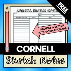 free printable cornell notes graphic organizer comic note taking note taking powerpoint. Black Bedroom Furniture Sets. Home Design Ideas