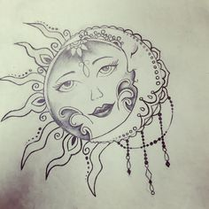 Sun and moon; tattoo, drawing, sketch.