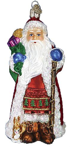Fanciful Santa Glass Ornament