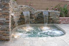 Waterfall jacuzzi… – Keep up with the times. Hot Tub Backyard, Small Backyard Pools, Small Pools, Swimming Pools Backyard, Pool Landscaping, Lap Pools, Indoor Pools, Pool Decks, Inground Hot Tub