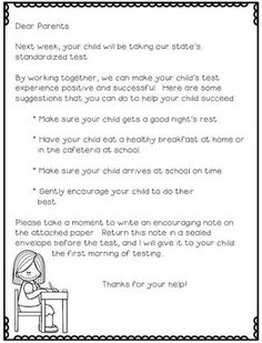 Standardized testing can be so stressful and cause a lot of test anxiety for students. By sending this letter home, parents are encouraged to send a supportive letter to their child to open and read before standardized testing.