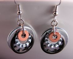 amazing handmade copper jewelry / Stacked  Washer Earrings
