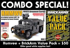 Brickmania - Humvee   BrickArms Value Pack - Special Combo, $50.00 (http://www.brickmania.com/humvee-brickarms-value-pack-special-combo/)