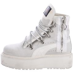 Pre-owned Fenty x Puma SB White Rihanna Bootsa (2.540 ARS) ❤ liked on Polyvore featuring shoes, grey, pre owned shoes, laced shoes, zipper shoes, flatform shoes and white shoes