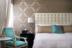 """like this """"wallpapered"""" look for our master bedroom wall behind the bed"""