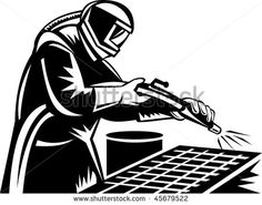 illustration of a Sandblaster at work cleaning grill  done in black and white #sandblaster #woodcut #illustration