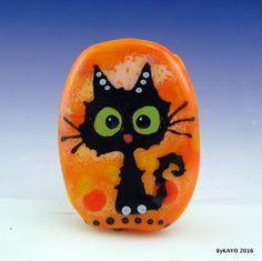 """MR. MISCHIEF"" byKAYO a Handmade GOOFY CAT Lampwork Art Glass Focal Bead SRA #Lampwork"