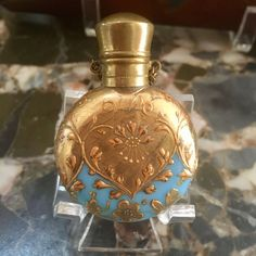 Antique 19th Century Blue Opaline Gilt Scent Perfume Bottle
