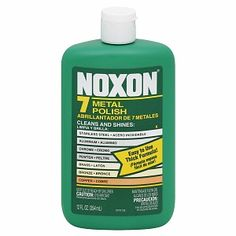Noxon Liquid Metal Polish. Multitasker able to polish several metals, including aluminum, nickel, pewter, and stainless steel.