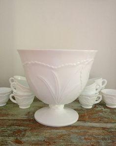 Vintage Milk glass punch bowl set