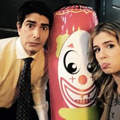 Enjoying tonight? brandonjrouth and I are working with a bunch of clowns #Arrow - Emily