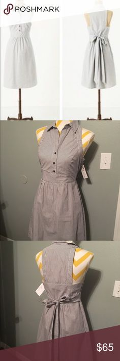 Anthropologie Maeve fountains of youth dress Pin stripe white/ navy sun casual dress. Button up front with pockets and attached waist tie. Beautiful perfect/ like new condition.  Has tags but not original?  Never worn by me. Bought wrong size so reposhing Anthropologie Dresses
