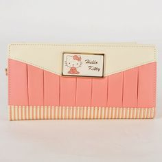 ·Tri-fold wallet made of high-quality faux leather, soft and durable ·A pretty Hello kitty frame with gilt edges decorated on front ·Great for your bills, checkbooks, cards and pictures, very practical item ·Very practical and perfect item for young ladies