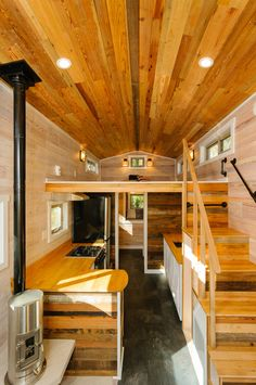 A 240 square feet tiny house on wheels in Asheville, North Carolina. Built by Wishbone Tiny Homes in Asheville, North Carolina.