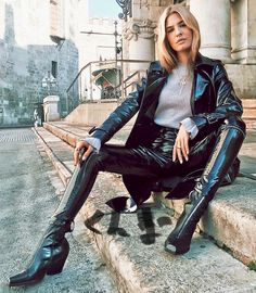 Leather pants and jacket street style