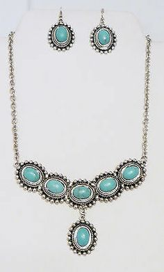 Cowgirl Bling Turquoise Antiqued silver Choker Gypsy Boho Western necklace set our  prices are WAY BELOW retail! ALL JEWELRY SHIPS FREE! BAHA Ranch Western Wear www.baharanchwesternwear.com