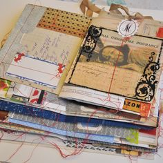 Love these mixed media journal pages, really inspiring! I believe this is a Remains of the Day Journal by Mary Ann Moss.