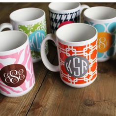 monogram mug - cute present for teachers