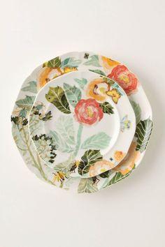 watercolor petals dinnerware • new bone china • via Anthropologie