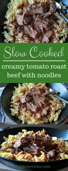 SLOW COOKED CREAMY TOMATO ROAST BEEF WITH NOODLES - The family gobbled this up…