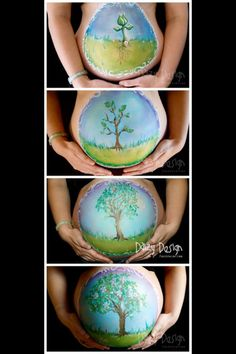 """""""Growing Belly"""" progressive belly painting by New Zealand Artist Christy Lewis"""