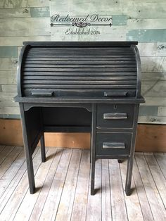 This adorable child's roll top desk was painted in GF Lamp Black Milk Paint by Redeemed Decor. All Modern Furniture, At Home Furniture Store, Cool Furniture, Office Furniture, Furniture Design, Milk Paint Furniture, Painted Furniture, Desk Makeover, Furniture Makeover