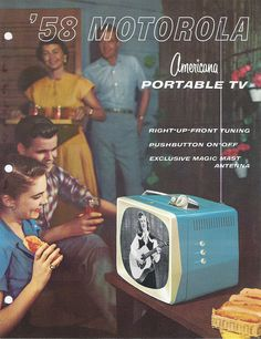 Vintage Advertising : Turqouise portable TV sets were the new thing to have in Motorola ad Vintage Tv Ads, Pin Up Vintage, Vintage Posters, Vintage Photos, Vintage Records, Old Advertisements, Retro Advertising, Retro Ads, Advertising Campaign