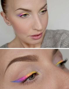 DIY Winged Neon Eye Makeup Tutorial from Sandra Holmbom here.It is rare to see an actual step-by-step tutorial from the amazing Sandra Holm...