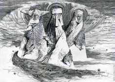 Vsevolod Shvayba. Makosh song peper, ink, pen 30х40cm.