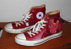 This design was created ON SNEAKERS using acrylic paint and copic markers by the awsomely talented artist Guy . Check him out! Using Acrylic Paint, Copic Markers, Iron Man, High Top Sneakers, Nerd, Guy, Check, Artist, Artwork