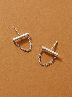 Sepia earrings | L'amoureuse | | Simons Online Purchase, Arrow Necklace, Delicate, Pouch, Stud Earrings, Sculpture, Sterling Silver, Chain, Jewelry