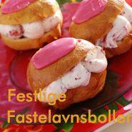 Fastelavnsboller med jordbærfyld og marcipanskum