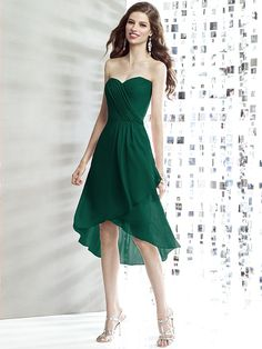 Pretty in hunter green... kinda of inbetween long and short?   Social Bridesmaids Style 8138 http://www.dessy.com/dresses/bridesmaid/8138/#.UqJnBBxhipw