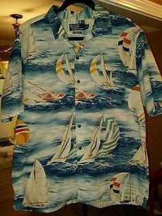 01b931d8 Ralph Lauren Chaps Polo Hawaiian Shirt Vtg 90s Beach Print Mens XL Sailboat  Sail Hawaiian,