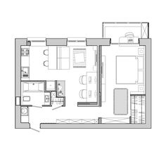 Amazing Picture of Tiny Apartment Layout . Tiny Apartment Layout Apartment Designs For A Small Family Young Couple And A Bachelor Small Apartment Plans, Garage Apartment Floor Plans, Small Apartment Design, Bedroom Floor Plans, One Bedroom Apartment, Apartment Interior Design, House Floor Plans, Couples Apartment, Apartment Living