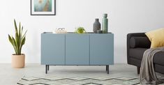 MADE Essentials Mino sideboard, Oak and Blue Side Board, Nordic Living Room, Small Home Offices, Oak Sideboard, Essentials, Furniture Collection, Soft Furnishings, Adjustable Shelving, Modern