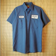 【UniFirst】古着USA製ブルーグレーCharles Williamsburg Automotive,Inc半袖ワークシャツ(青灰)|メンズMサイズ