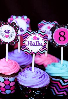 Bright & Girly Rockstar Birthday Party // Hostess with the Mostess® Rockstar Birthday, Dance Party Birthday, Purple Birthday, Barbie Birthday, 6th Birthday Parties, 7th Birthday, Birthday Ideas, Themed Parties, Neon Cupcakes