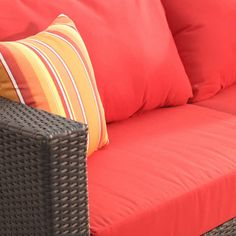 The Plaza Sectional Set Includes: 1 corner chair, 1 left loveseat and 1 ottoman Aluminum frames All-weather resin wicker Sunbrella® fabric Corner Chair, Sunbrella Fabric, Wicker, Love Seat, Ottoman, Patio, Bed, Furniture, Home