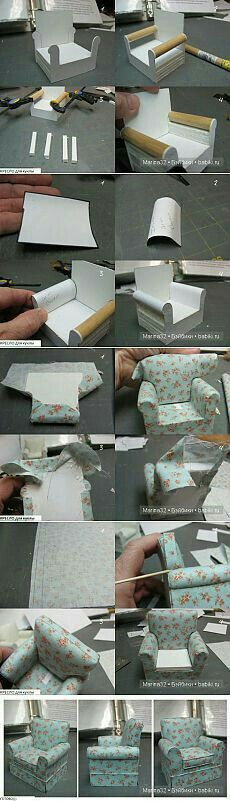 DIY doll house by using a shoebox - There are different methods of making doll houses using different material. The easiest is to make a DIY doll house by using shoebox. These doll house. Miniature Crafts, Miniature Dolls, Miniature Houses, Miniature Furniture, Dollhouse Furniture, Miniature Chair, Tiny Furniture, Paper Furniture, Furniture Chairs