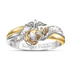 Wear your Semper Fi spirit for all to see with this USMC women's embrace ring. Features 4 genuine diamonds!