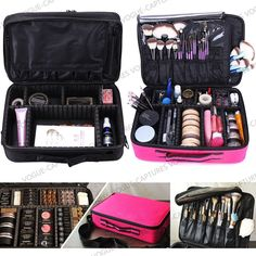 Pro Large Makeup Bag Cosmetic Case Storage Handle Organizer Artist Travel Kit #Unbranded