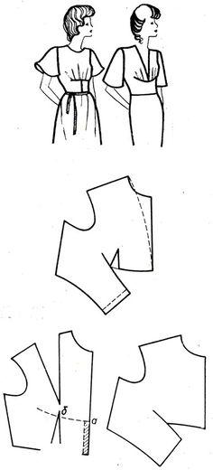 Рис. 177. Перемещение нагрудной вытачки и вытачки на талии в подрез со сборками или защипами, расположенными ниже груди