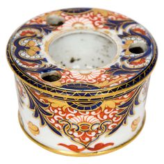 """Rare, Early, Derby, Porcelain, INKWELL, """"Kings"""" Pattern, circa 1815 