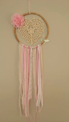 For baby girls room Doily Dream Catchers, Beautiful Dream Catchers, Dream Catcher Craft, Dream Catcher Mobile, Dream Catcher Boho, Doilies Crafts, Lace Doilies, Dreamcatchers, Diy And Crafts