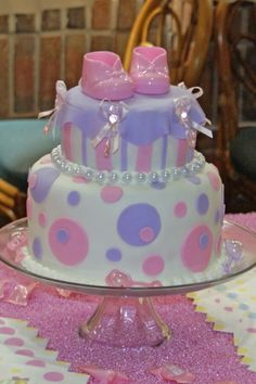 Polka dots and stripes baby girl shower cake By shannanicole on CakeCentral.com