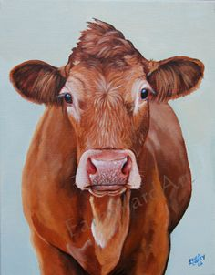 Original Fine Art Herefod Limousin cow  painting by by farmyardart, $355.00