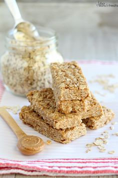 Peanut Butter Honey No Bake Granola Bars on MyRecipeMagic.com
