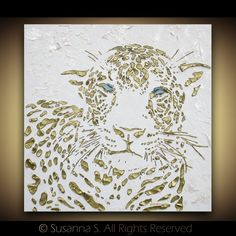 paintingtheimpatient:  Abstract Art Original leopard painting metallic gold wildlife wall art modern palette knife texture oil painting MADE TO ORDER Susanna