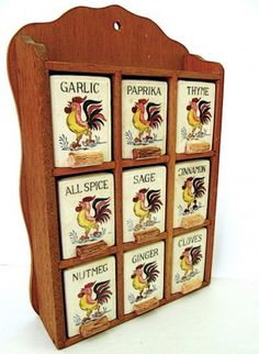 Vintage Spice Rack with Rooster Jars by worldvintage on Etsy, $50.00